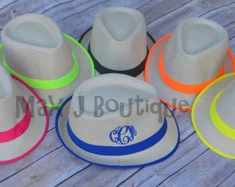 Monogrammed Fedora - Personalized Fedora - Beach Hat - Bridesmaid gift