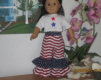 American girl doll 4th of July top and pants