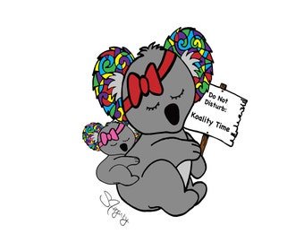 TWO Styles: Koality Time and Koala at Work Cards, Prints, Labels FREE SHIPPING