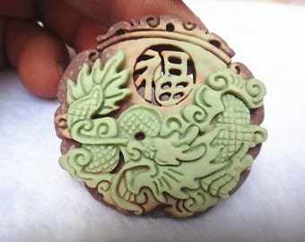 Natural purple jade pendant hand-carved dragon's blessing
