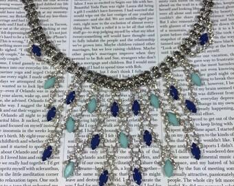 Blue statement necklace, rhinestone necklace, crystal necklace, wedding necklace, bride necklace, bridesmaid necklace, party necklace.
