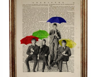 The Beatles Rock Band  Dictionary Art Print on Upcycled Book page 8 x 10 inches