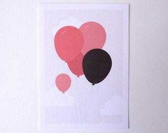Balloons - postcard blank illustrated