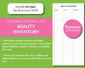 Personal Filofax Beauty Inventory and Regimen Trackers - Beauty and Cosmetics Inventory Printable for Kikki K Medium, Personal Filofax