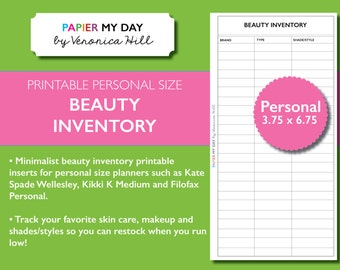 Personal Filofax Beauty Inventory and Regimen Trackers - Beauty and Cosmetics Inventory Printable for Kikki K Medium, Personal Filofax