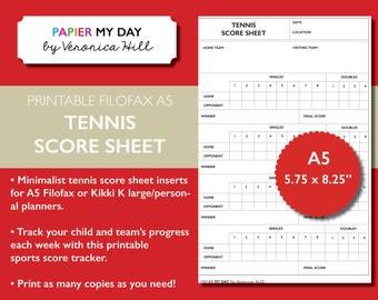 Printable A5 Filofax Tennis Score Sheet - Tennis Score Sheets for Filofax and Kikki K planners