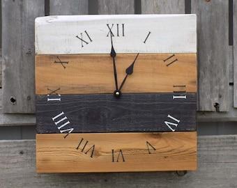 Primitive Wood Clock, Black and White Clock, Pallet Wood Clock, Rustic Wall Clock, Black and white wood clock, Pallet style clock, primitive
