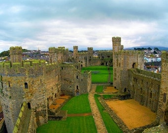 Welsh Castle Fine Art Photography Wall Photo Print, Wales United Kingdom Europe Inside Brown Stone Blue Sky Green Grass Historic Royalty