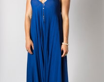 Wide Leg Womens Gypsy Long Jumpsuit Dress in Royal Blue, Summer, Resort, Beach, Swimsuit Coverup, One piece Playsuit, one size fits S-XL