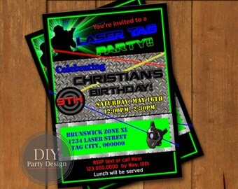 Laser Tag  Birthday Invitation * Digital Party Invitation * You Print