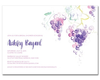 Bridal Shower 5x7 Invitation with hand-painted grapes - Watercolor Winery - Printable and Personalized