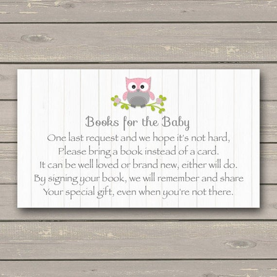 owl baby shower bring a book instead of a card insert pink