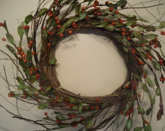 """22""""  Grapevine Wreath Red Berries Wall Decor Floral Arrangement Natural Country Supplies #274A"""