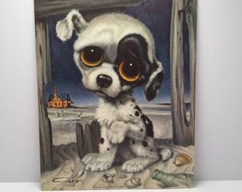 1960's Pity Puppy Gig Print - Big Eyes Sad Puppy Mod Print 1960's