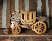 Vintage Handmade Old Hobbyist's Model Western Stagecoach Stage Coach Horse Drawn Covered Wagon Wooden Sculpture