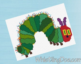 Simple Very Hungry Caterpillar Cross Stitch Pattern