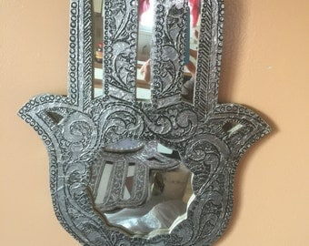 1 handmade  silvered engraved Hamsa