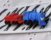 TOY TRAIN HEADBAND, Black and White Headband with Train, Blue Green Orange Yellow Engines, Red Caboose, 2 inch Wide Headband, Toddler Band