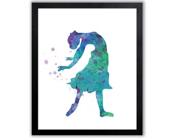 Modern Watercolor Art Print For A Girl, Dancing Art Print - FIG008
