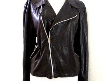 Vintage 90s Black Wet Look Zipper Blouse Talon Zipper - Black Blouse - Black Zipper Top - Long Sleeves - Size Medium to Large