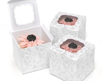 Pearl Flourish Cupcake Favor Boxes (Pack of 24)