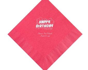 Happy Birthday Napkins Personalized Set of 100 Napkins Party Supplies