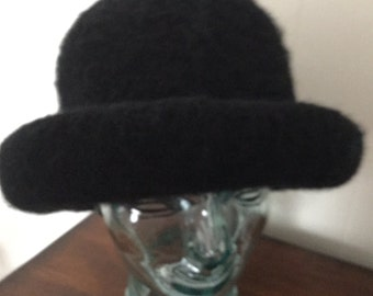 Black wool Hat. Hand knitted and felted.