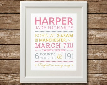 Personalized Baby Birth Print, Digital file, Custom Baby Stats, Birth Announcement Print, Baby Birth Stats, Custom Colors