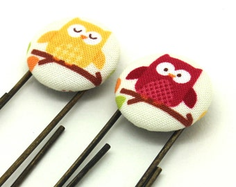 2 Owl Bookmarks, Owl Paperclips, Fabric Button Bookmarks