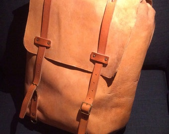 Military Style Leather Backpack