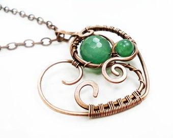 Green Heart Long Statement Pendant Necklace, Charm Wire Wrap Weaving Copper Hand Forged Women Jewelry, Unique Gift for Her Mom Jewellery