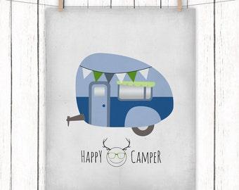 Happy Camper Printable Art Caravan Camping Trailer Art Print Blue Green Gray Home Decor Wall Art 8 x 10 Instant Download