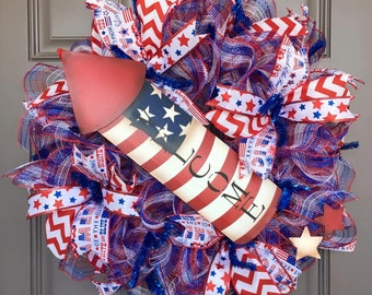Welcome Patriotic July 4th America Memorial Day Deco Mesh Wreath