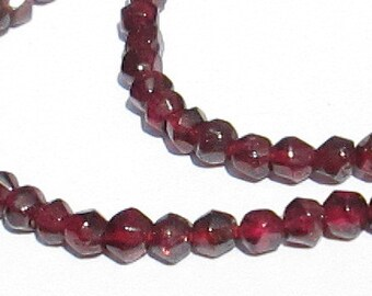 "Wine Red Bicone Shape Genuine Garnet Beads, 3mm, Full 13"" Strand"