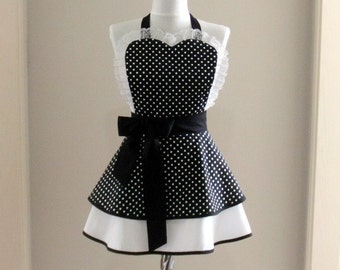 Woman apron -Women polka dot apron - Black and white - Full apron-Cute apron