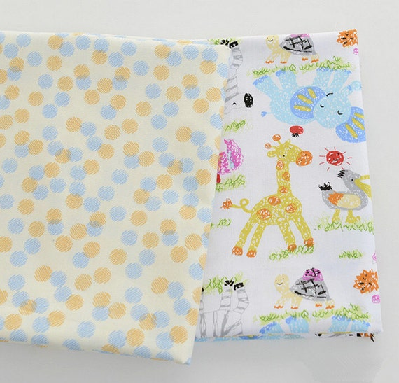 Cute baby cotton fabric pastel drawing animals and by for Cute baby fabric