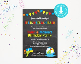 Pool Party Invitation INSTANT DOWNLOAD  - Printable Chalk Board Pool Party Invitation by Printable Studio