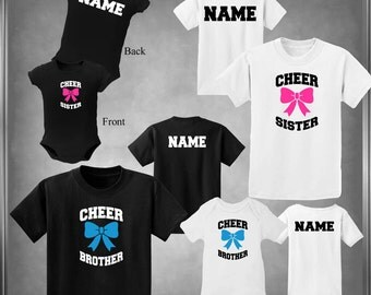 Custom Cheer Brother or Sister Personalize. Child's T-Shirt Children's Sizes Infant 6 Mos - Youth XL Color Choices