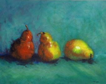 Three Abstract Pears Red, Yellow, Turquoise, Still Life