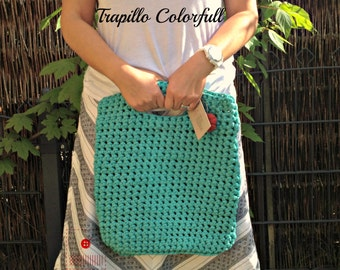 Medium Trapillo bag-Trapillo Purse-Tshirt bag-T-shirt trapillo-XXL-Trapillo Tote-Crochet Tote-T-shrit Yarn Pouch-Bag-Pouch-Hoooked Zpagetti