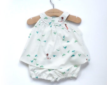 6-12 Month Baby Girl Little White Bird Print / Child Vintage Style Trapeze Dress Top and Matching Bloomers/Diaper Covers
