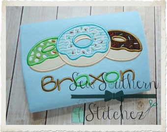 Doughnut Trio Applique Design ~ Yummy Doughnuts with Sprinkles and Icing ~ Instant Download