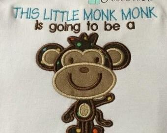 Big Headed Monkey Applique Design - Instant Download