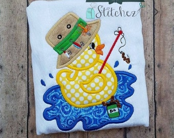 Fishing Duckie Applique Design - Instant Download
