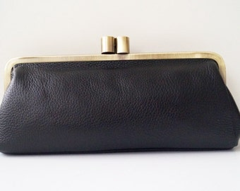"Clutch ""Victoria"" in black, Leather handbag, Vintage bag, leather bag, shoulder bag, genuine leather, leather purse"