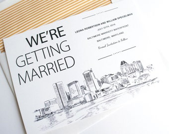Baltimore Skyline Save the Date Cards (set of 25 cards)