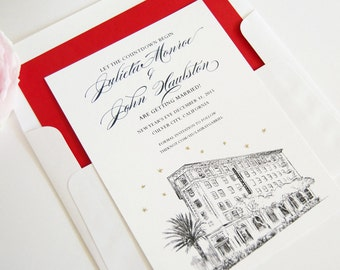 Culver Hotel Skyline Save the Date Cards, Save the Dates, Los Angeles (set of 25 cards)