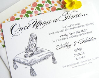 Disney Inspired Cinderella's Glass Slipper Fairytale Save the Date Cards (set of 25 cards and white envelopes)