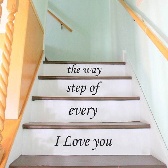 stair decals wall decals quotes i love you by trendywalldecals. Black Bedroom Furniture Sets. Home Design Ideas