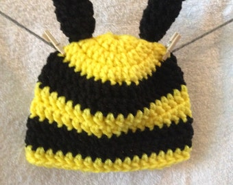 Bumble Bee Baby Hat, Crocheted Baby Hat, Photo Prop, Baby Beanie
